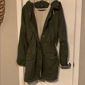Abacrombie and Fitch Sherpa lined military parka